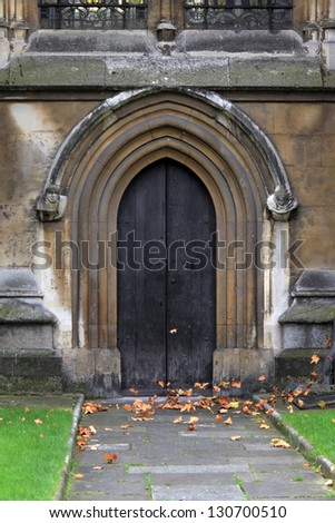The Collegiate Church of St Peter at Westminster, popularly known as Westminster Abbey, is a large, mainly Gothic church, in the City of Westminster, London. Fragment of North Entrance. - stock photo