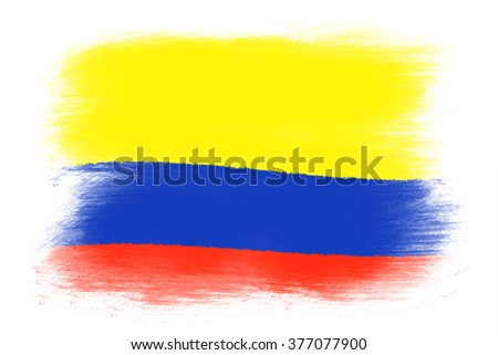 The Colombian flag - Painted grunge flag, brush strokes. Isolated on white background.