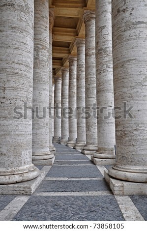 The colonnades at the Saint Peters Square in Rome, Italy - stock photo