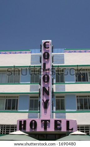 The Colony Hotel on Ocean Avenue in South Beach, Florida. - stock photo