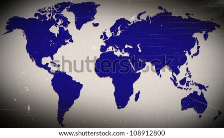The color blue on old maps of the world. - stock photo