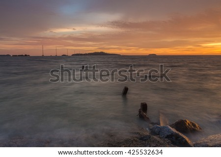 The Color of Sky at Siring Beach Malacca, Malaysia. Soft focus due to Long Exposure