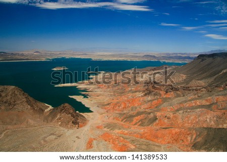 The Colorado river and its lakes formed by the Hoover and Davis Dams.