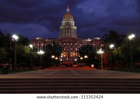 The Colorado State Capitol Building at night - stock photo