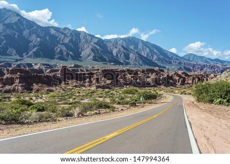 The Colorados area on Quebrada de las Conchas near Cafayate city in Salta Province, northern Argentina - stock photo