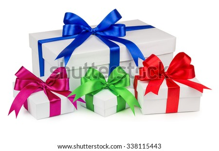 The colored boxes with gifts of different sizes, isolated on a white background