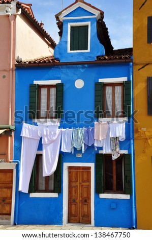 The colored houses on Burano island in Venice ,Italy