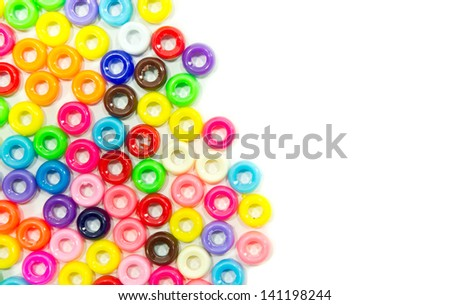 The colorful beads isolated on white background - stock photo
