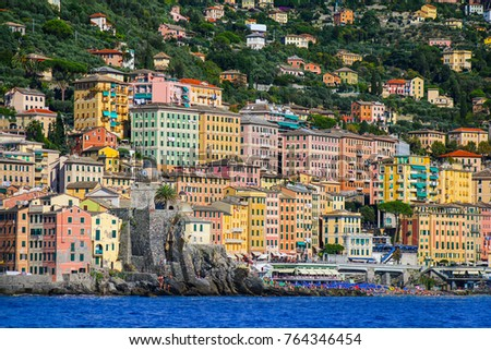 The colorful buildings of Camogli, Italy viewed from the Mediterranean Sea