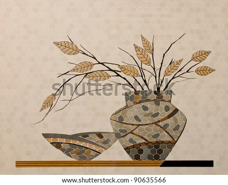 The Colorful ceramic tiles wall decoration - stock photo
