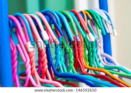The Colorful Clothes Hanger. - stock photo