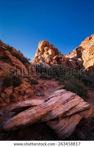 The colorful formations at the bottom of Red Rock Canyon Conservation Area near Las Vegas, Nevada.