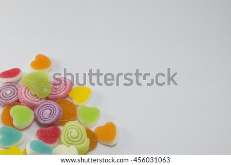 The colorful jelly sweet.The sweet candy.The jelly food of child.