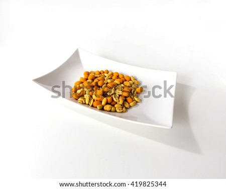 The colorful of Candy on white plate -isolate background - stock photo