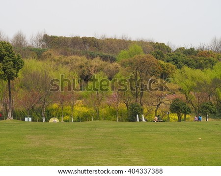 The colorful panoramic view in the city park in spring