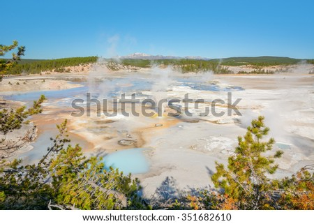 The colorful Porcelain Basin in the Norris Geyser Basin of Yellowstone National Park Wyoming. - stock photo