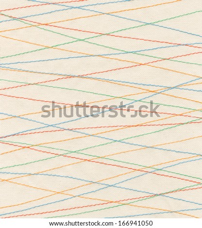 The colorful seams on fabric - stock photo
