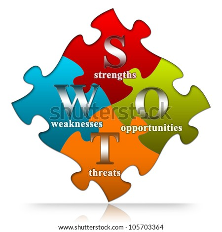 The Colorful SWOT Puzzle With Metallic Text Style Isolated On White Background - stock photo