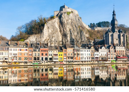 The colorful waterfront of the town of Dinant in the Wallonia region of Belgium