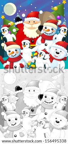 The coloring christmas page with colorful preview - greeting card - illustration for the children - stock photo