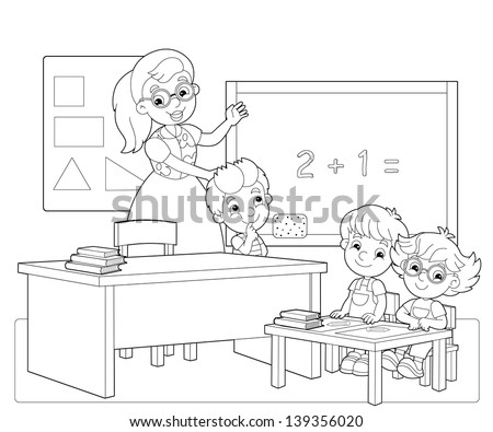 The coloring page - the classroom - illustration for the children - stock photo