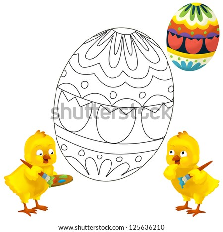 The coloring plate - easter - illustration for the children - stock photo