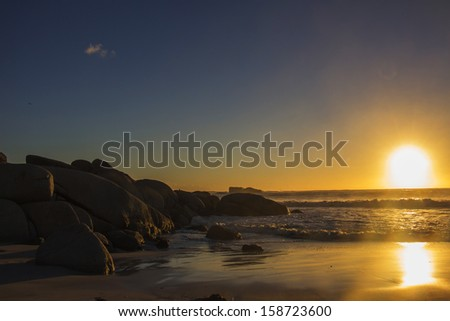 The colors of the setting sun on Clifton Beach in Cape Town