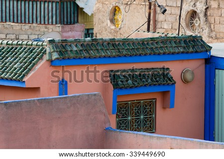 The colors of traditional Moroccan architecture - stock photo
