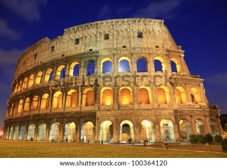 The Colosseum at dusk, Rome, Italy
