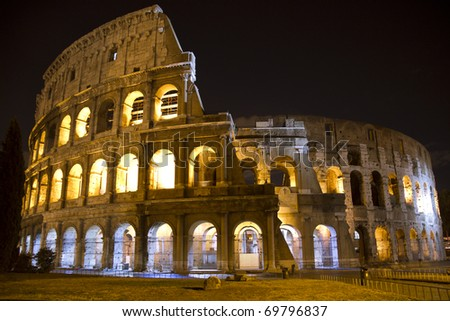 The Colosseum at night.  Rome, Italy.