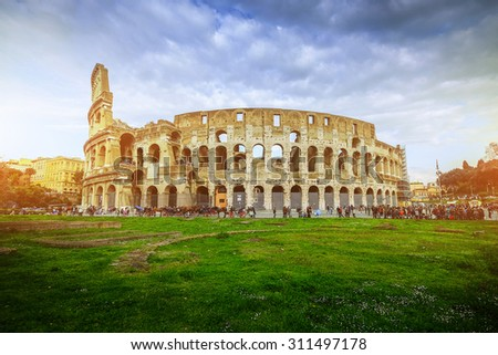 The Colosseum (Coliseum) also known as the Flavian Amphitheatre on a sunny spring day  - stock photo