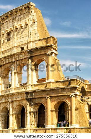 The Colosseum (Coliseum) in Rome, Italy. The Colosseum is an important monument of antiquity and is one of the main tourist attractions of Rome.