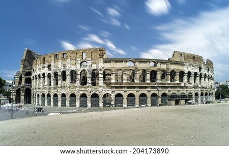 The Colosseum in Rome. Blue sky