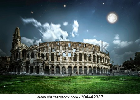 The Colosseum in Rome. Night scene. Colosseum in the night
