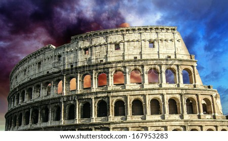 The Colosseum in Rome with Dramatic sky - Italy