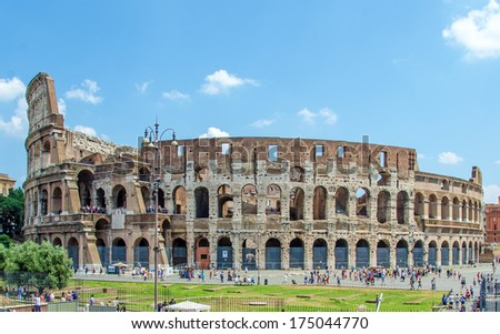 The Colosseum or Coliseum, also known as the Flavian Amphitheatre. Elliptical amphitheatre in the centre of the city of Rome, Italy. - stock photo