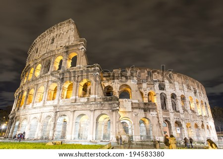 The Colosseum or Coliseum, also known as the Flavian Amphitheatre is an elliptical amphitheatre in the centre of the city of Rome, Italy.  - stock photo