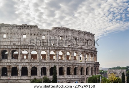 The Colosseum or Coliseum, also known as the Flavian Amphitheatre is an elliptical amphitheatre in the centre of the city of Rome, Italy.