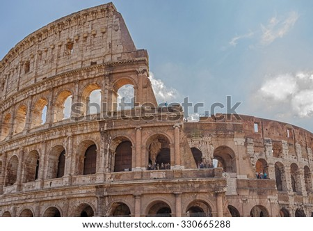 The Colosseum or Flavian Amphitheatre - an amphitheater, an architectural monument of ancient Rome, one of the most spectacular buildings of the ancient world that have survived to our time. Italy.