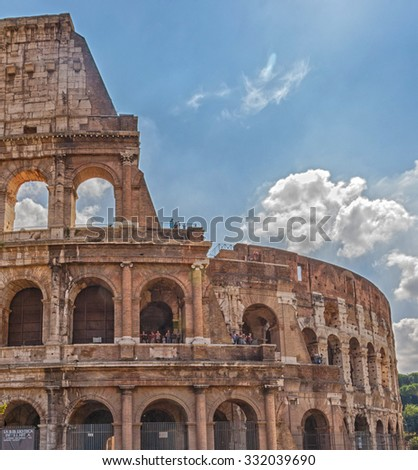The Colosseum or Flavian Amphitheatre - an amphitheater, an architectural monument of ancient Rome, one of the most spectacular buildings of antiquity that have survived to our time. Rome. Italy.