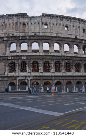 The Colosseum, place of bloody hand-to-hand fight of the Roman gladiators. Rome, Italy. - stock photo