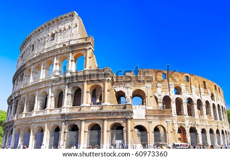The Colosseum, the world famous landmark in Rome, Italy.Panorama - stock photo