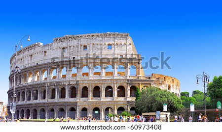 The Colosseum, the world famous landmark in Rome, Italy. Panorama