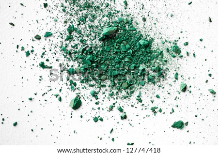 The colour of the year 2013 crumbled pastel chalk close-up composition on white paper background - stock photo