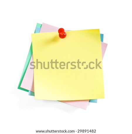 The colour sticky notes  held by a pushpin for message or comment