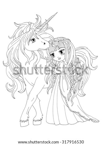 The colouring page The Unicorn and Moon princess