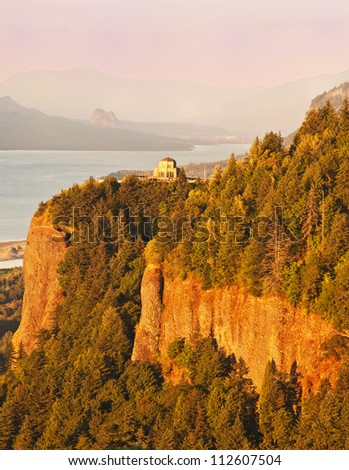 The Columbia River George and the Vista Point - stock photo