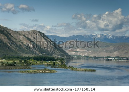 The Columbia River. The Columbia river meanders through the Palouse area of eastern Washington will pass through Grand Coulee Dam to provide power for irrigation in the great farmlands of the area. - stock photo