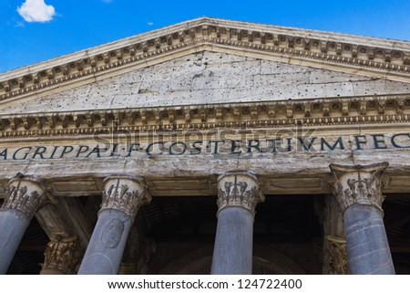 The columns and facade of the ancient Roman temple in the Piazza della Rotonda in the Centro Storico district in the heart of Rome, Italy. - stock photo