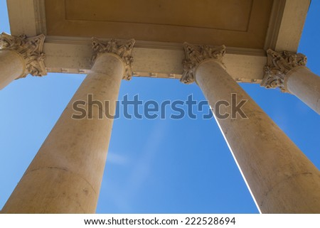 the columns of the church in bardolino in Italy